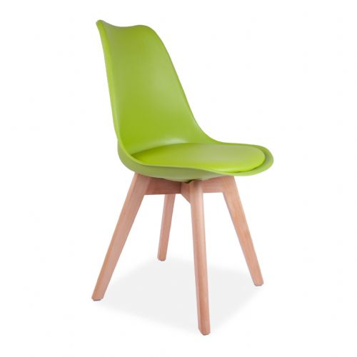 4x Tulip Pyramid Dining Chairs With Beech Legs,  Green